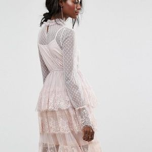 Boohoo Tiered Tulle Lace Dress Rose Size 12